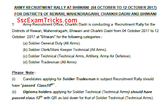 Bhiwani Soldier GD Open Bharti 2017-18