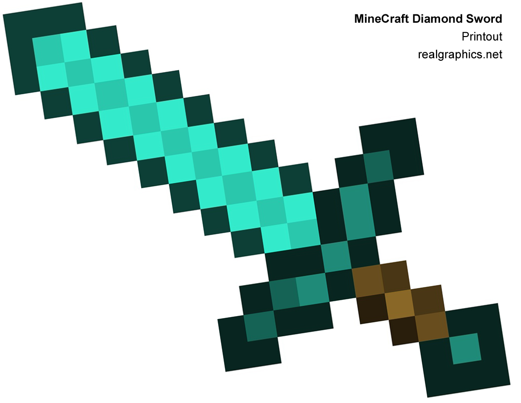 Papercraft And Steve Diamond Minecraft Sword