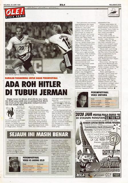 PIALA DUNIA 1998 ROH HITLER DI TUBUH JERMAN