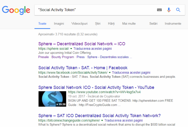 google results for SAT ICO mentions