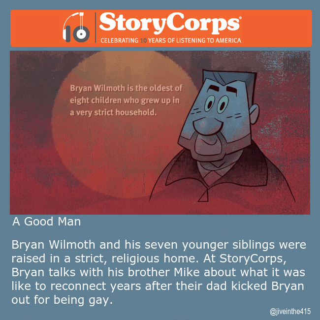 "StoryCorps animated story ""A Good Man"" featuring Bryan Wilmoth and a still photo from the animated film of Bryan Wilmoth."