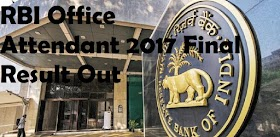 RBI Office Attendant 2017 Final Result Out - Direct Link to Download