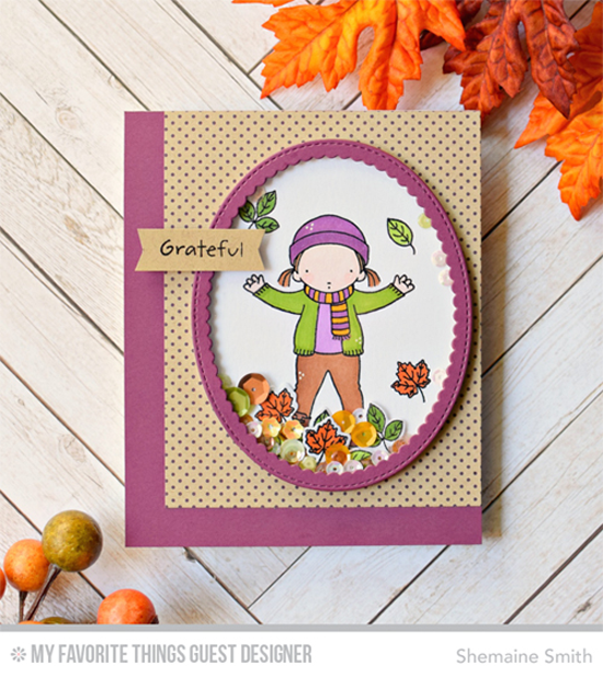 Handmade card from Shemaine Smith featuring Pure Innocence Jumping with Joy stamp set and Stitched Oval Scallop Frames Die-namics #mftstamps
