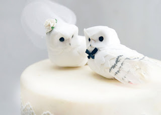 Sweet and Cute Owl Birds Wedding Cake Topper