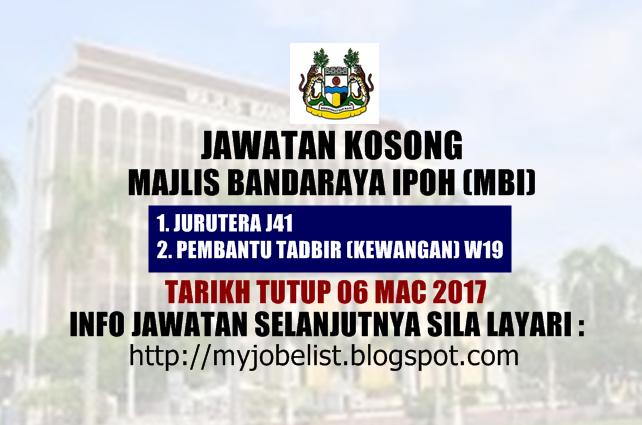 Jawatan Kosong Majlis Bandaraya Ipoh (MBI)  Mac 2017