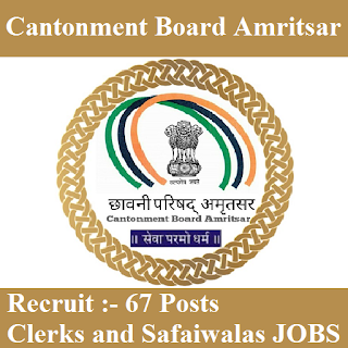 Cantonment Board Amritsar, Ministry of Defence, Govt. of India, Cantonment Board, 10th, Clerk, safaiwala, freejobalert, Sarkari Naukri, Latest Jobs, cb amristar logo