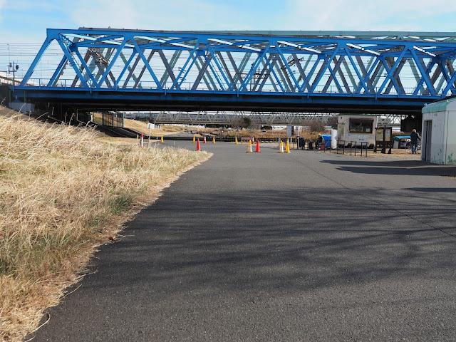 荒川自転車道 東京メトロ千代田線、常磐線、つくばエクスプレス