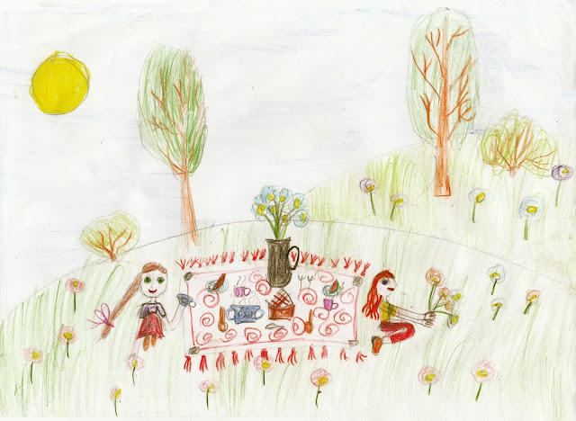 лето, девочки - подружки устроили пикник, детский рисунок