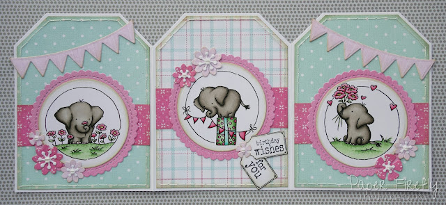 Tri-fold tag card using elephant trio from LOTV