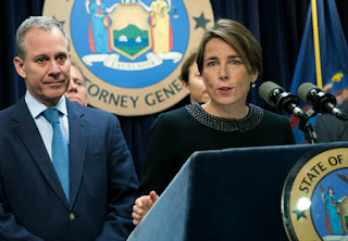 Attorneys General Maura Healey of Massachusetts and Eric Schneiderman of New York have been fighting to preserve environmental protections through the courts. (Credit: Drew Angerer/Getty Images) Click to Enlarge.
