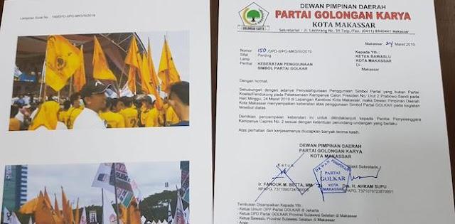 Bendera Berkibar Di Kampanye Prabowo-Sandi, Golkar Lapor Bawaslu