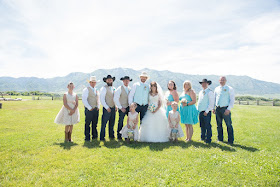 Wedding party with burlap bouquets and boutonnieres