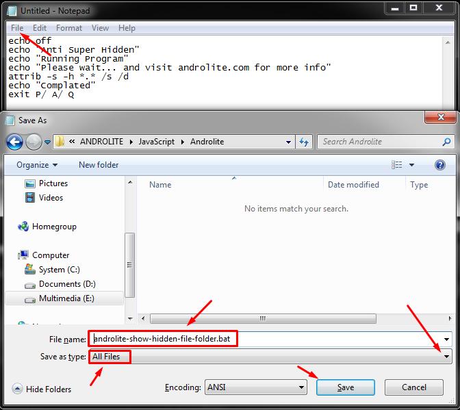 Memunculkan File/Folder Tersembunyi via Notepad