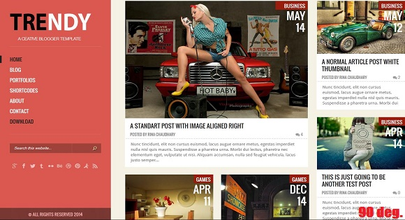 Trendy Red Responsive Blogger Template