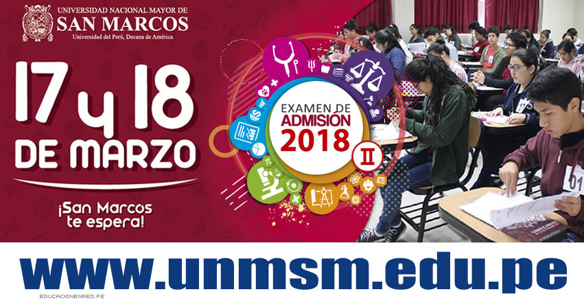 UNMSM: Temario Examen de Admisión 2018-2 (Examen 17 y 18 Marzo) - www.unmsm.edu.pe