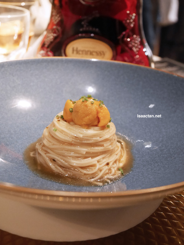 Takao cold somen with Ogawa Bafun Uni & truffle celeriac cream paired with Hennessy X.O, Cognac, France, with a splash of water