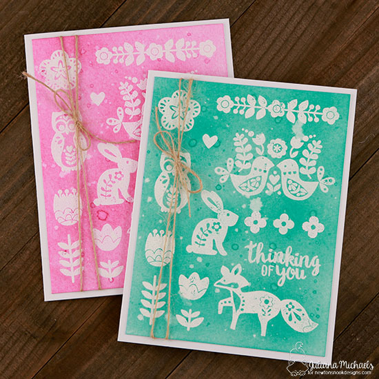 Folk Art Spring Cards by Juliana Michaels | Cottage Garden stamp set and die set by Newton's Nook Designs #newtonsnook