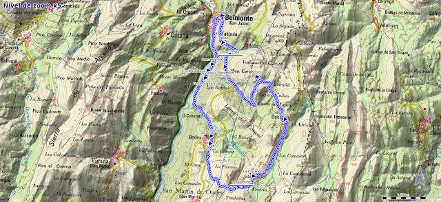 Mapa de la ruta Belmonte, Pico Cervera
