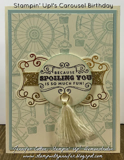 This gift bag uses Stampin' Up!'s Carousel Birthday stamp set.  It also uses: Kraft Tag a Bag Gift Bags, Gold Glimmer Paper, Cupcakes & Carousels Embellishment Kit, and a Stamping Sponge!!  #staminup #stamptherapist www.stampwithjennifer.blogspot.com