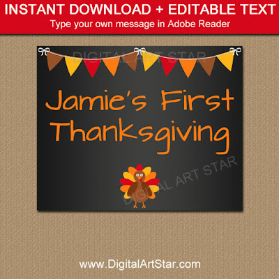 thanksgiving chalkboard sign with editable text