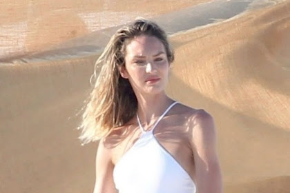 candice swanepoel in White swimsuit