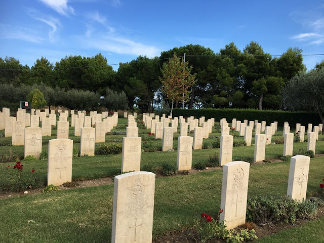 Grave stones at Moro River Canadian War Cemetery in Ortona, Italy