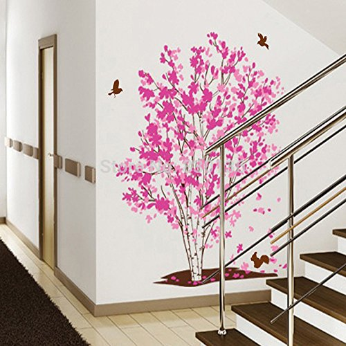 Cupcinu Wall Stickers Red Maple Tree Flying Birds Art