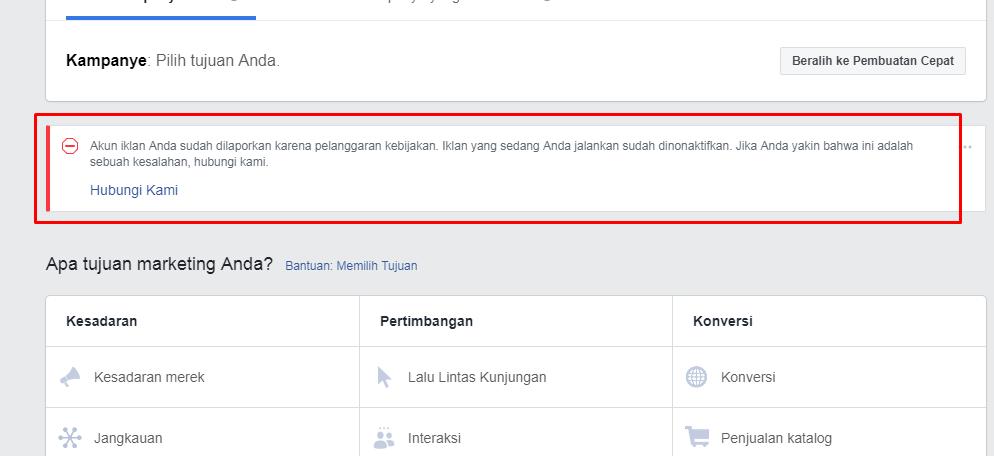 Cara Banding Iklan Facebook Yang Terkena AME (Ads Manager Error) Dan Kata Kata Ampuh Saat Banding