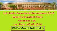 Lok Sabha Secretariat Recruitment 2016