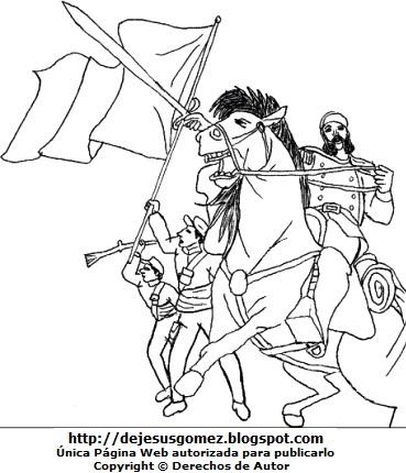Dibujo de Andrés Avelino Cáceres en la Batalla de Huamachuco para colorear pintar e imprimir. Dibujo de Andrés Avelino Cáceres hecho por Jesus Gómez