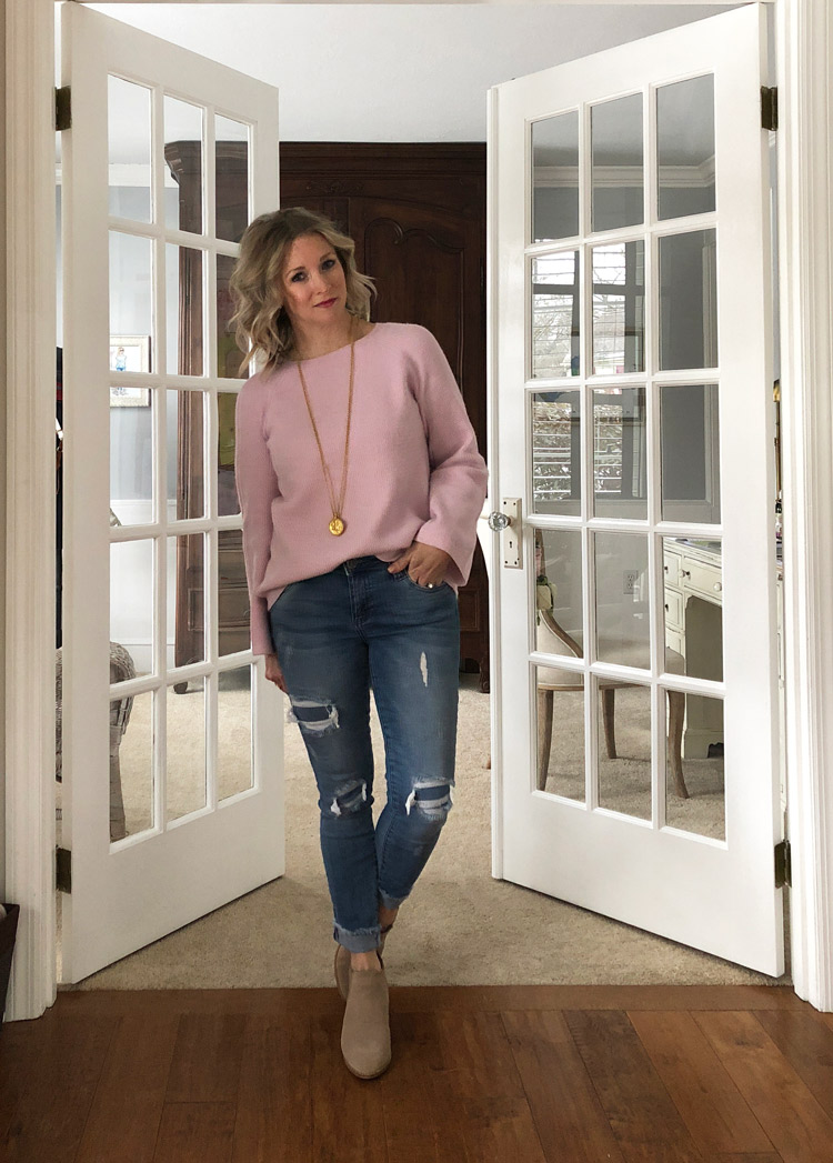 lavender sweater with skinny distressed jean and booties