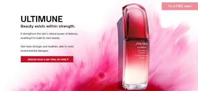 Shiseido 3 days Free Samples