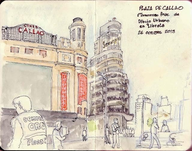Concurso De Dibujo Urbano En Libreta Fnac Madrid: CROQUIS EN VIVO: PLAZA DE CALLAO