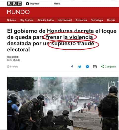 BBC justifica la masacre el pueblo hondureño