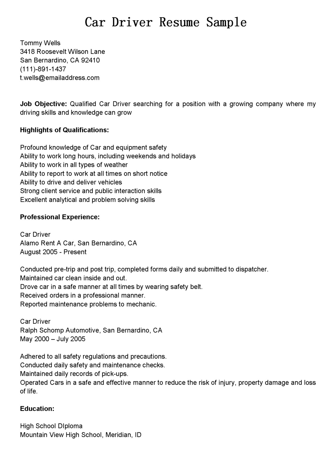 Sample Resume For A Driver Driver Resumes Car Driver Resume Sample