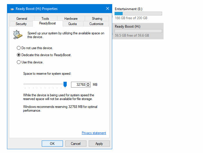 How to speed up Windows 10 using ReadyBoost?
