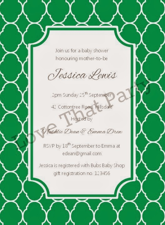 Quatrefoil Printable Party Invitation - Love That Party. Available in emerald green, musk pink and sky blue at http://lovethatparty.bigcartel.com/product/quatrefoil-party-invitation-digital-file. This would be perfect for a baby shower or bridal shower.