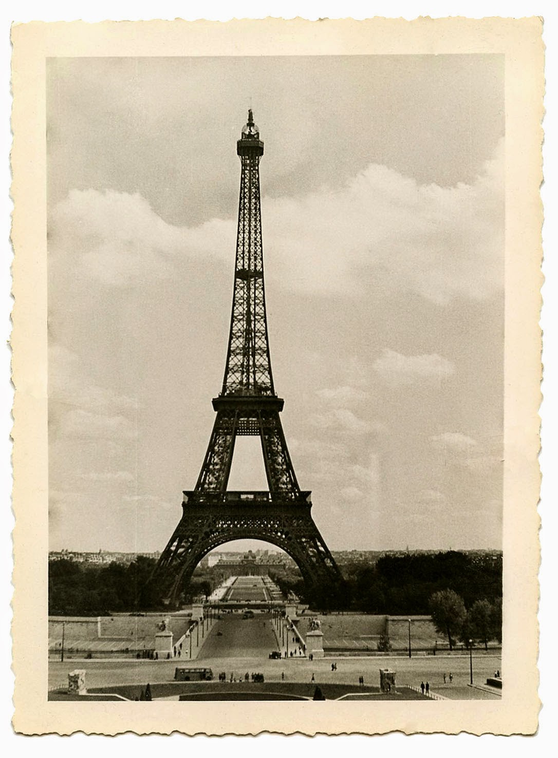 Vintage image of Eiffel Tower in Paris France