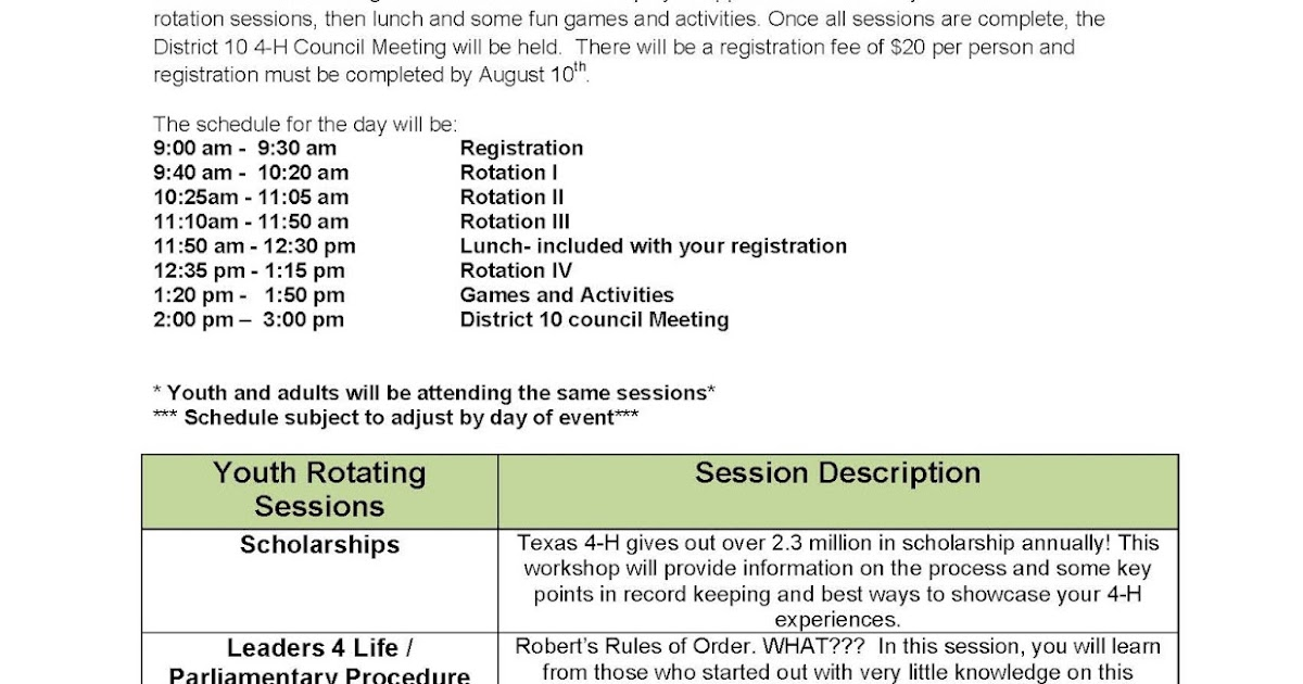 Travis County 4-H: D-10 4-H Conference - August 20th