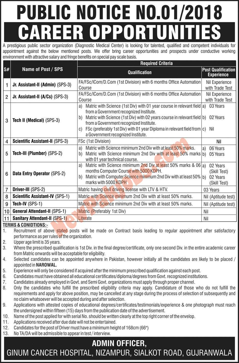 Latest NTS Jobs In Public Sector Organization Gujranwala 2018