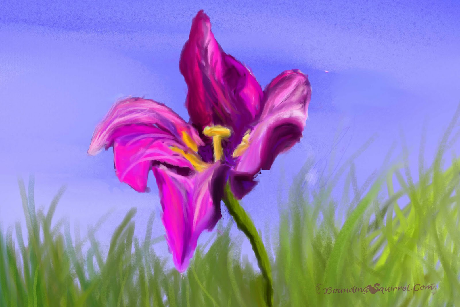 digital painting of a pinky-purple tulip