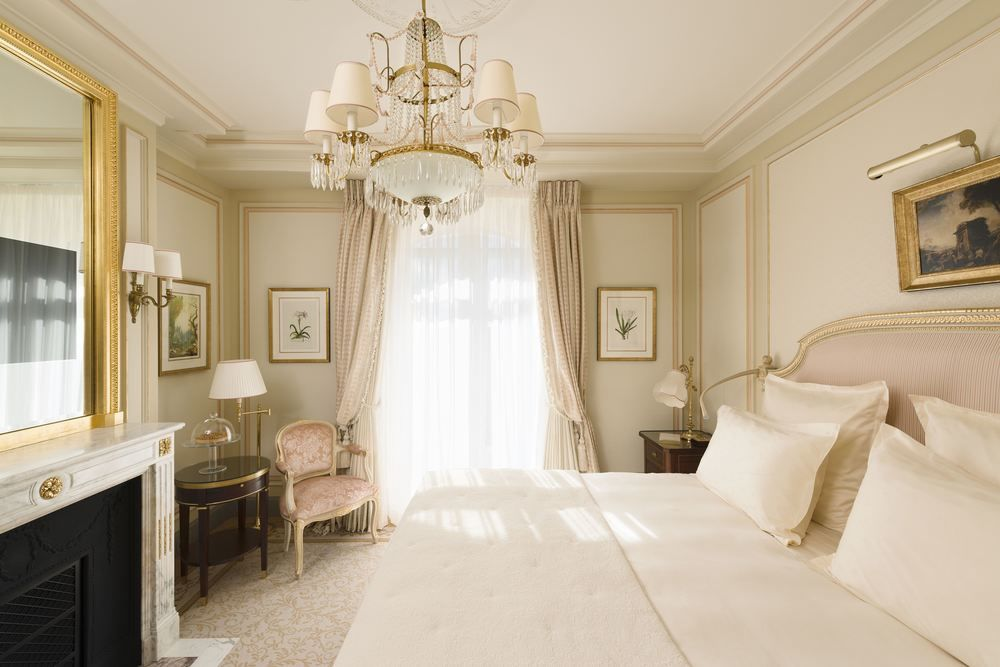 Tranquil guest suite with fireplace at Ritz Paris