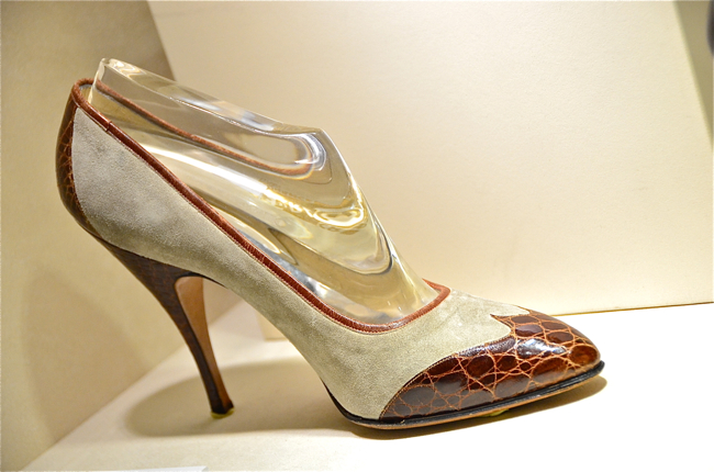 933353d0764 Marilyn Monroe s court shoe in crocodile and suede. Made between 1958- 1959  specifically for her.