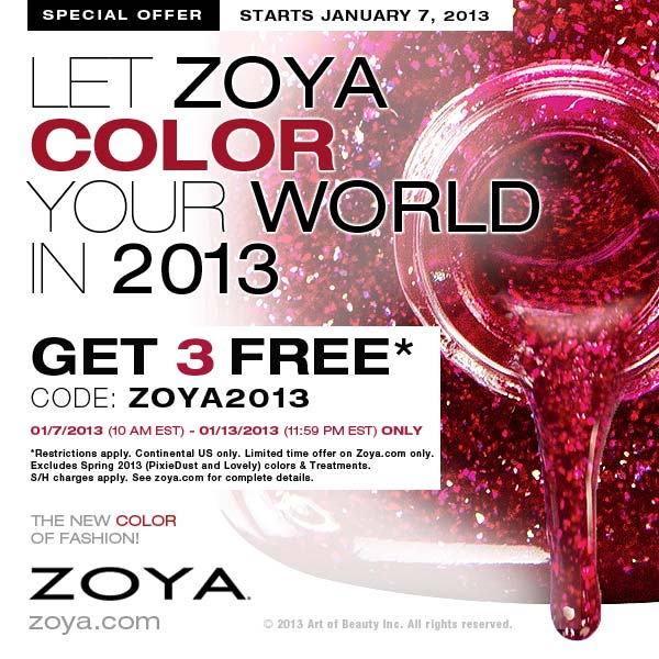 Great deal from Zoya Nail Polish: 3 polishes for FREE (just pay shipping + processing)!