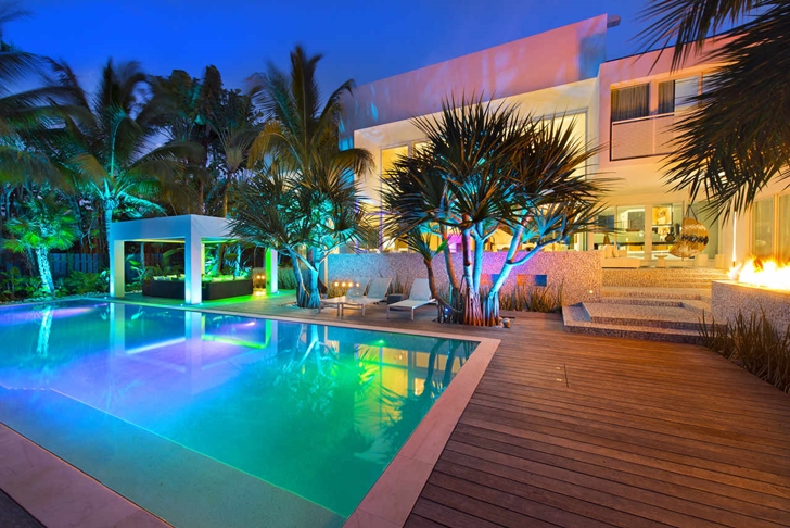 Modern mansion in Miami at night