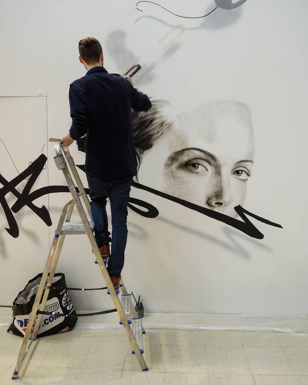 noir artist, bercy 2 , paris, street art, muraliste, trompe l'oeil, painting, peinture, art, wildstreet