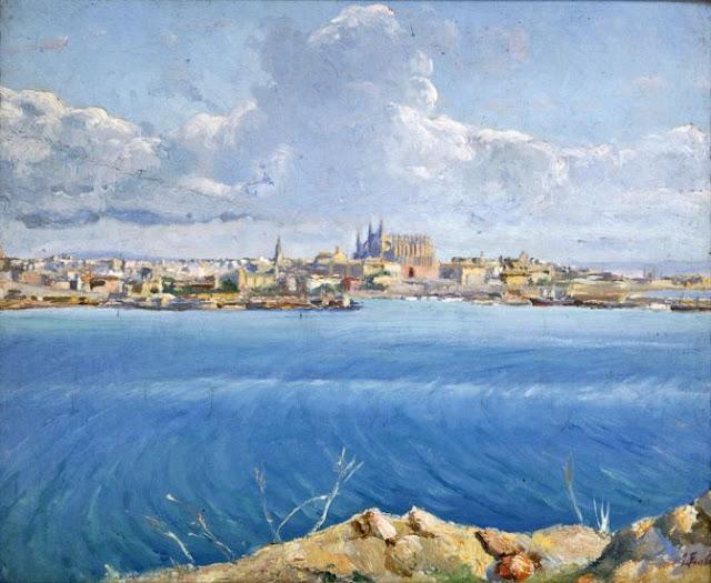 Juan Fuster Bonnin, Bahía de palma, Mallorca en Pintura, Mallorca pintada, Paisajes de Mallorca