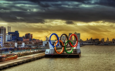 London Olympics 2012 logo floating down the river Thames