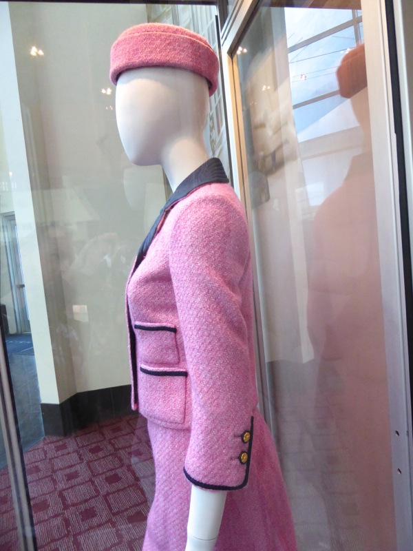 Natalie Portman Jackie Kennedy pink film outfit