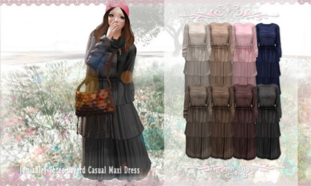 {amiable}Three-layerd Maxi Casual Dress
